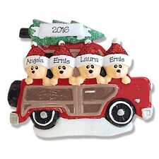 FAMILY OF 4 BEARS IN CAR Personalized Ornament Hand Painted RESIN by Deb & Co.