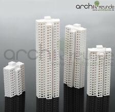 4 x Modell Hochhaus Gebäude 1:1000 : Typ A + Typ B + Typ C + Typ D