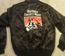 Vintage MARLBORO Country Music Tour '85 Black Satin Bomber Jacket Men's Sz Small