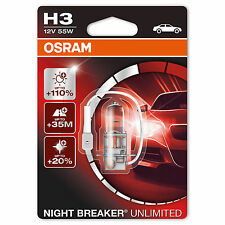 1 X OSRAM H3 NIGHT BREAKER UNLIMITED BULBS  + 110% One Headlight Bulb