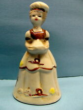 Vintage Ceramic Dutch Woman Figurine Bell Art Pottery- Collectible Bell Display