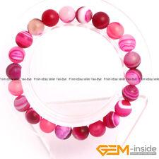 "Wholesale Lot 8mm Handmade Matte Stripe Onyx Agate Beaded Stretchy Bracelet 7"""