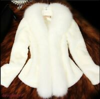Women's Fur Coat Warm Luxury Short Winter Fur Collar Outwear Jacket Fashion OL