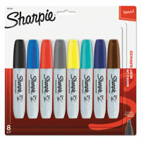 Sharpie Chisel Tip Permanent Marker, Medium, Assorted Fashion, 8/Pack