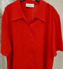 ( Ref 262 ) Ann Harvey - Size 22 - Ladies Red Short Sleeve Summer Blouse / Top