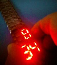 BNIW TOKYOFLASH JAPAN RED LED DIGITAL DAY/DATE BLACK STAINLESS WATCH