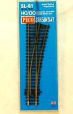 Rail HO 1/87 PECO Streamline Sl-91 - aiguillage Court droit Insulfrog