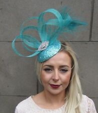 Turquoise Jade Sea Green Silver Sequin Feather Hat Fascinator Races Ascot 5075
