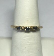 Brand New 14K Yellow Gold Genuine Marquise Sapphire Band Ring (1/4 Carat)