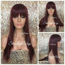 Long Straight Burgundy Full Wig With Bangs Heat Safe Ok Red