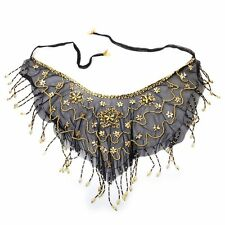 Belly Dance Face Veil Pearl Sequins Mesh Black
