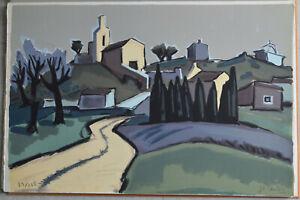 Lithographie Jean-Claude Quilici sur vélin chemin de la chapelle a Eyguiére TBE