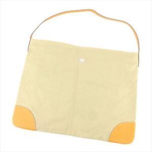 Prada Shoulder bag Beige Orange Canvas Leather Woman unisex Authentic Used H602