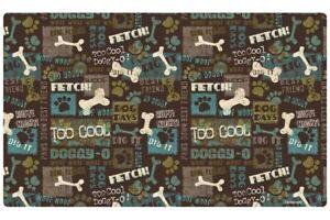 """Dog Placemat 12"""" x 20""""  Dog Bowl Pet Mat Waterproof, """"Best Friend"""" Green"""