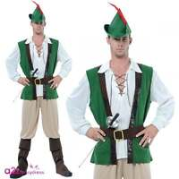 Mens Robin Hood Deluce Costume Medieval Peter Pan Adult Fancy Dress Outfit & Hat