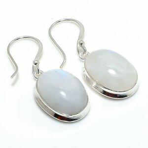 "Rainbow Moonstone Gemstone Gift 925 Sterling Silver Jewelry Earring 1.50 "" q414"