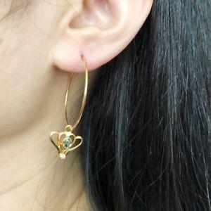 14K Solid Yellow Gold Dangling Natural Sapphire Hoop Earrings - E90