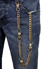 New Men Gold Metal Wallet Chain KeyChain Biker Trucker Skeleton Skull Motorcycle