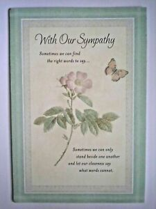 "Hallmark ~ EMBOSSED ""WITH OUR SYMPATHY"" GREETING CARD + ENVELOPE"