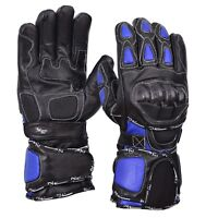 Blue/Black Motorcycle Leather Cowhide Bikers Gloves Motorbike Winter