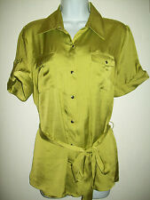 Dressbarn Womens Top Size Large Green Silky Blouse Short Sleeve Career