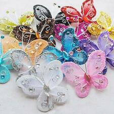 """24 Pcs 2"""" Organza Butterflies Craft Wedding Party Decoration 17 Color to Choose"""