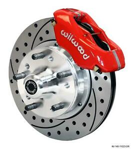 """Wilwood Mopar A Body Front Disc Brake Kit 11"""" Drilled Rotor Red Caliper"""
