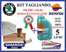 KIT TAGLIANDO FILTRI SKODA OCTAVIA II 1.6 TDI + 5 LITRI OLIO REPSOL ELITE 5W30
