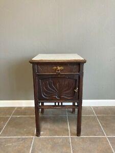 Vintage Belgian dark oak nightstand