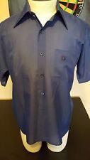 Vintage 70s Paper Thin Oleg Cassini Burman Blue Short Sleeve Polyester Shirt