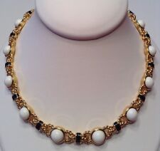 Vintage Signed MONET Jewelry Necklace White, Black & 22k Gold Plated. Nautical