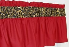 ~ 3 in Wide Rod Pocket ~ Red & Cheetah Leopard Window Curtain Valance $15.99