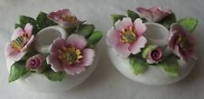 VINTAGE ROYAL ADDERLEY/ ROYAL DOULTON BONE CHINA 'PRAIRIE ROSE' CANDLE HOLDERS