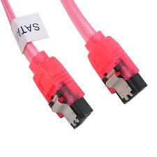 "6"" SATA Serial ATA I II & III 3.0 SSD/HDD Data Cable 6Gb/s UV Red Metal Latch"