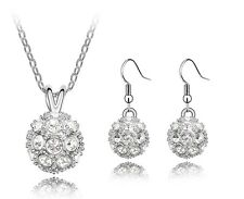 White Shamballa Jewellery Set Crystal Disco Ball Drop Earrings & Necklace S110W