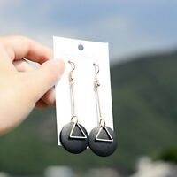 Fashion Boho Round Wood Earrings Women Triangle Dangle Drop Hook Earring Jewelry