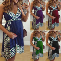 Pregnant Summer Dress Women Maternity Sleeveless Casual Short Dress Sundress