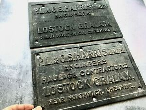 Pair of Heavy Engineers & Haulage Brass Signs Plaques