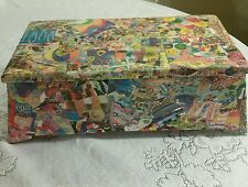 Funky Psychedelic Decoupage Wooden Jewelry Box, Hand-made, modge podge