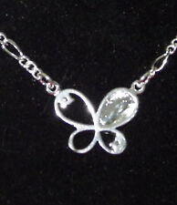 New 925 Sterling Silver Filled & Cubic Zirconia Butterfly Anklet Bracelet Combo