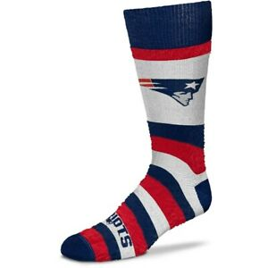 New England Patriots Football Women's Pro Stripe Fuzzy Soft Crew Socks