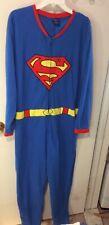 DC Comics SUPERMAN One Piece Pajamas /Halloween Costume PJ's - Size XL