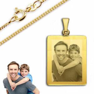 Gravur Platte mit  persönlicher Fotogravur- Echt Gold-333(8 Karat)-&Silberkette