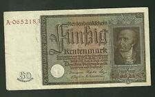 Scarce 1934 50 Rentenmark Germany Banknote Currency Paper Money P172