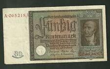 Scarce 1934 50 Rentenmark Germany Banknote Currency Paper Money P172