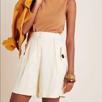 NWT Anthropologie Pepaloves Ivory Safari Pleated City High Waist Shorts Size XS