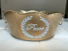 """Metal Planter""""Peace"""" decorative Gold and Silver t 00006000 oned"""