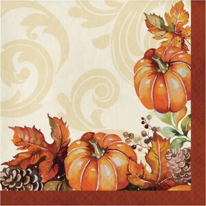 16 x Thanksgiving Autumn Harvest Pumpkin & Leaves Paper Party Napkins