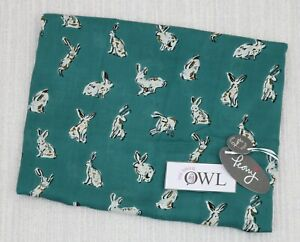 PEONY HARE SCARF Ladies White Teal Hares Bunny Rabbit Scarves Easter Presents UK