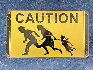 """ILLEGAL IMMIGRANT CROSSING """"CAUTION"""" SIGN CA HIGHWAY VINTAGE STYLE SIGN 14 X 8"""